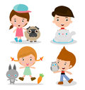 Kids and Pets, children beside Their Pets Kids and Pets, Kids with their Pets, Vector illustration. Isolated
