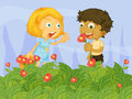 Kids picking up flowers in the garden illustration of Stock Photo