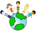 Kids and planet earth Stock Photography