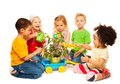 Kids and plant Royalty Free Stock Photo