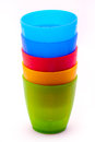 Kids plastic cups Royalty Free Stock Photo