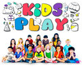 Kids play imagination hobbies leisure games concept Royalty Free Stock Photos
