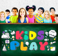 Kids play imagination hobbies leisure games concept Royalty Free Stock Photo