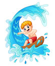 Kids play surfing with big wave Royalty Free Stock Photo
