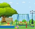 Kids playground cartoon concept background.