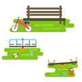 Kids playground elements vector.