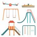 Kids playground flat cartoon set with swing carousels slides Royalty Free Stock Photo