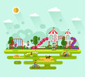 Kids playground illustration flat design vector summer landscape of park with and equipment with swings slides and tube carousel Stock Photography