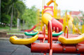 Kids playground totter in fun and happy Royalty Free Stock Image