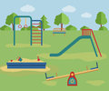 Kids playground vector illustration children s with swings a slide a sandpit Royalty Free Stock Photo
