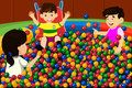 Kids playing in ball pool a vector illustration of happy a Stock Images