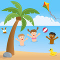 Kids playing on a beach with palm tree group of multicultural happy in summer day eps file available Stock Photo