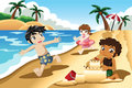 Kids playing on the beach a vector illustration of happy Stock Photography