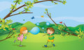 Kids playing blowing bubbles illustration of Royalty Free Stock Photo