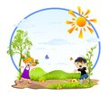 Kids playing cartoon girl and boy outside in a summer day Stock Images