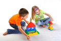 Kids playing with constructor Stock Photos