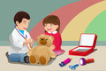 Kids playing doctor a vector illustration of together Royalty Free Stock Photography
