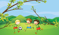 Kids playing football illustration of the Stock Images