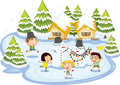Kids playing on frozen lake illustration of at christmas time Stock Images