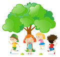 Kids playing hide and seek in the park Royalty Free Stock Photo