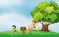 Kids playing at the hilltop near the tree illustration of Stock Photography