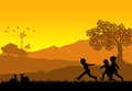 Kids playing illustration of a rural landscape background with silhouette of and rabbits Royalty Free Stock Image