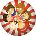 Kids playing inside a circle illustration of the on white background Royalty Free Stock Image
