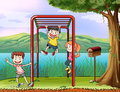Kids playing monkey bar and a letter box illustration of Stock Image