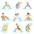 Kids Playing Music Instruments With Rainbow And Clouds Decoration Royalty Free Stock Photo