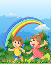 Kids playing near the garden with a rainbow illustration of in sky Royalty Free Stock Photography