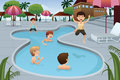 Kids playing in an outdoor swimming pool a vector illustration of happy at a resort Stock Photo