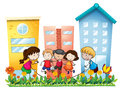 Kids playing outside the building illustration of on a white background Royalty Free Stock Images