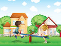 Kids playing at the park in the village illustration of Royalty Free Stock Photo