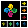 Kids playing people group community vector icons set this graphic also represents employees meeting interaction children in Stock Photography