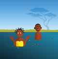 Kids playing in a river cartoon vector illustration of Stock Photo