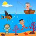 Kids Playing in the Sea Royalty Free Stock Photo