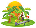 Kids playing seesaw near the coconut trees illustration of on a white background Stock Photo