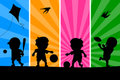 Kids Playing Silhouettes [1] Royalty Free Stock Photo