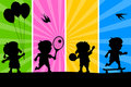 Kids Playing Silhouettes [2] Royalty Free Stock Photo