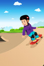 Kids playing skateboard a vector illustration of cute boy in a skate park Stock Images