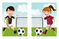 Kids playing soccer Royalty Free Stock Image