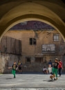 Kids playing soccer in Brasov Stock Photography