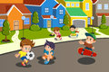 Kids playing in the street of a suburban neighborhood vector illustration happy Stock Photography