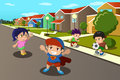 Kids playing in the street of a suburban neighborhood vector illustration happy Stock Photos