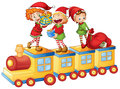 Kids playing on train Royalty Free Stock Photo