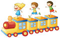 Kids playing on train illustration of a a toy Royalty Free Stock Photos