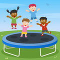 Kids Playing on Trampoline Stock Images
