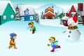 Kids playing in a winter wonderland vector illustration of happy together Stock Photos