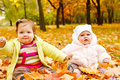 Kids playing with yellow leaves Royalty Free Stock Photo