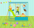 Kids playroom with light furniture decor playground and toys on the floor carpet decorating flat style cartoon